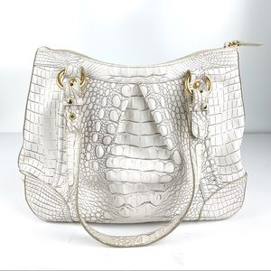 Brahmin Bags - Brahmin White Vintage Leather Purse Shoulder Bag
